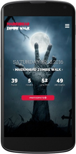Mobile version of Maidenhead Zombie Walk website.