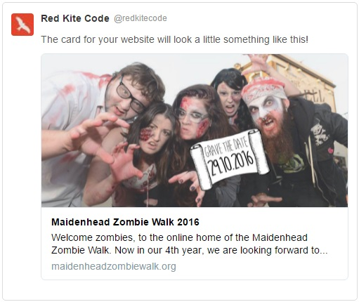 Twitter Card for Maidenhead Zombie Walk website.